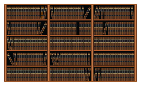Bookcase with books.