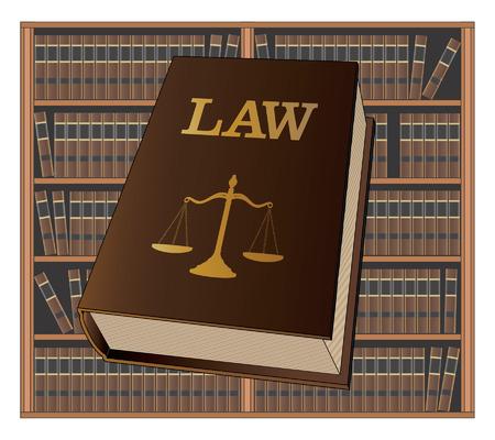 Juridische Bibliotheek is een illustratie van een wetboek dat wordt gebruikt door advocaten en rechters met een achtergrond van boekenplanken gevuld met bibliotheekboeken. Vertegenwoordigt juridische zaken en juridische procedures.