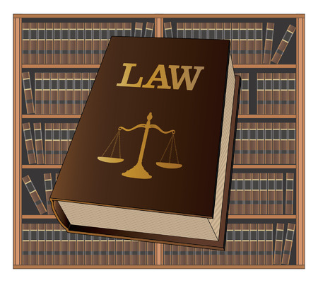 Law Library is an illustration of a law book used by lawyers and judges with a background of bookshelves filled with library books. Represents legal matters and legal proceedings. Illustration