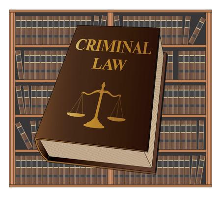 Strafrecht is een illustratie van een strafrechtelijk wetboek dat wordt gebruikt door advocaten en rechters. Vertegenwoordigt juridische zaken en gerechtelijke procedures.