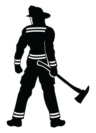 Fireman Standing is an illustration of a silhouetted fireman or firefighter in a strong proud stance as if to warn anything willing to challenge him.