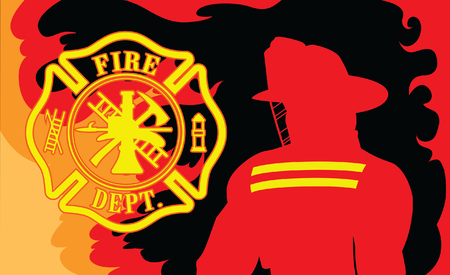 Fire Department With Fireman is an illustration of a silhouetted fireman or firefighter and a firefighter symbol surrounded by fire or flames.