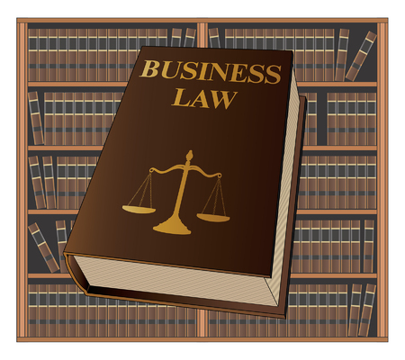 Business Law is an illustration of a business law book used by lawyers and judges. Represents legal matters and legal proceedings.