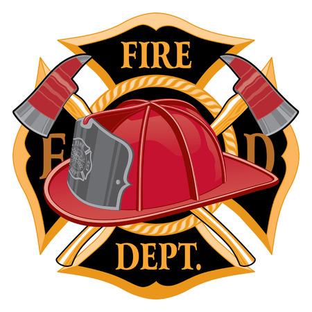 El símbolo de la Cruz del Departamento de Bomberos es una ilustración de un bombero o bombero emblema de la cruz de Malta con casco de bombero y hachas de bombero en primer plano. Ideal para camisetas, folletos y sitios web.