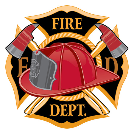Fire Department Cross Symbol is an illustration of a fireman or firefighter Maltese cross emblem with a firefighter helmet and firefighter axes in the foreground. Great for t-shirts, flyers, and websites. Stock Illustratie