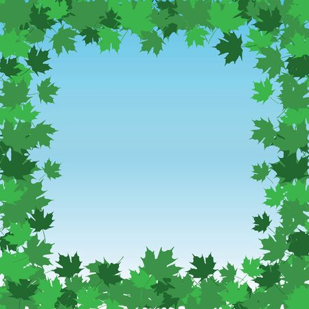 Leaf Border Frame - Summer is an illustration of a frame or border made up of spring and summer leaves colored in shades of green with a blue sky background.