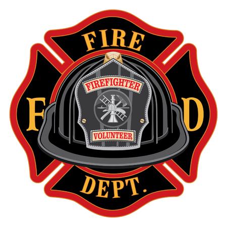 Cuerpo de bomberos Cross Volunteer Black Helmet es una ilustración de un emblema de la cruz maltesa de bombero o bombero con un casco de bombero voluntario negro y distintivo en primer plano. Ideal para camisetas, volantes y sitios web.
