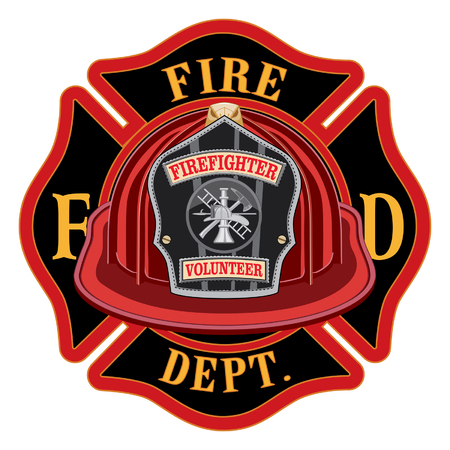 Fire Department Cross Volunteer Red Helmet is an illustration of a fireman or firefighter Maltese cross emblem with a red volunteer firefighter helmet and badge in the foreground. Great for t-shirts, flyers, and websites. Illustration