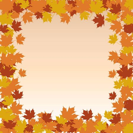 Leaf Border Frame - Fall is an illustration of a frame or border made up of fall or autumn leaves colored in brown, orange and golden yellow.