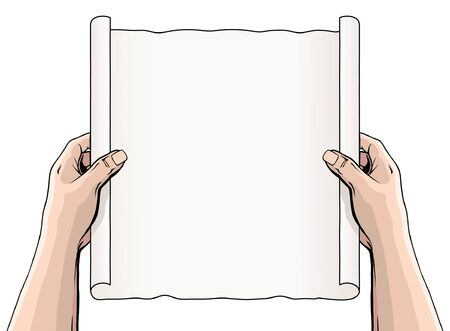 Hands Unrolling a Document or Scroll is an illustration of someone holding an unrolled scroll or document. The scroll is blank so that you can add your own text or message.