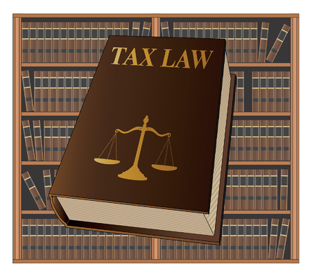 Tax Law is an illustration of a tax law book used by lawyers and judges. Represents legal matters and legal proceedings. Ilustração