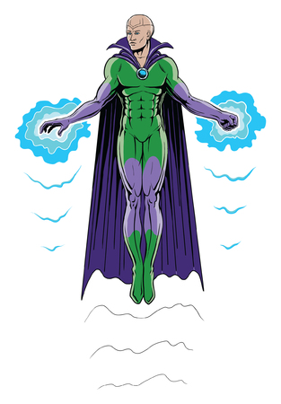 Super Hero Flying in Full Color is an illustration of a super hero in cape and costume flying by means of power emanating from his hand and fist. Done in a comic book style with a two color costume and bright blue powers.
