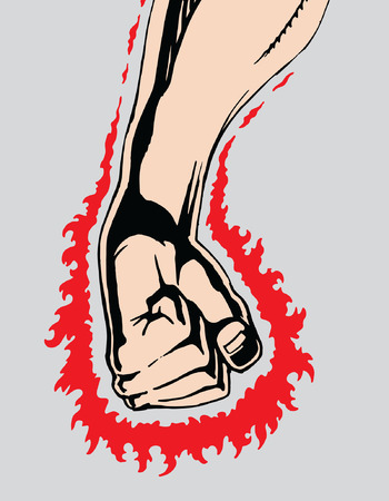 Angry Clinched Fist is an image of a fist clinched in rage or anger as if preparing to strike at any moment. Fist is surrounded by bright red power.