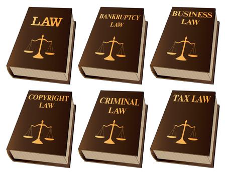 Law Books is een illustratie van zes wetboeken die worden gebruikt door advocaten en rechters. Ze omvatten boeken over wetgeving, faillissementswetgeving, ondernemingsrecht, auteursrecht, strafrecht en belastingrecht. Vertegenwoordigt juridische zaken en gerechtelijke procedures. Stock Illustratie