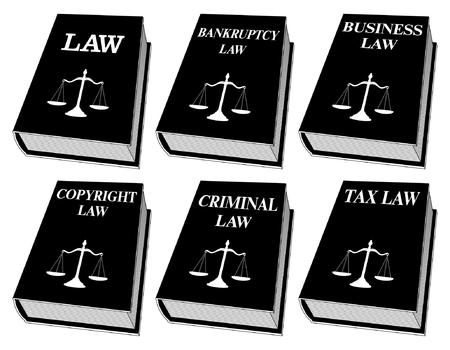 Wetsboeken - Een kleur is een illustratie van zes wetboeken die door advocaten en rechters in zwart en wit worden gebruikt. Dit zijn boeken over wetgeving, faillissementswetgeving, ondernemingsrecht, auteursrecht, strafrecht en fiscaal recht. Vertegenwoordigt juridische zaken en juridische procedures. Stock Illustratie