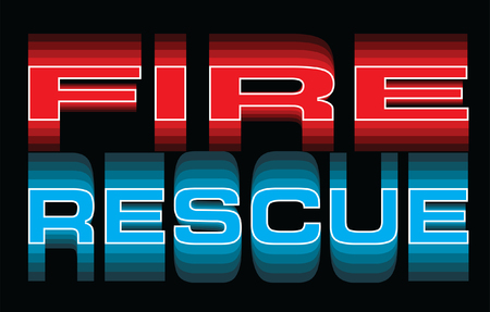 Fire Rescue is an illustration of vibrant text that says Fire and Rescue. Great for use in fire, rescue, emergency and medical response themed designs.