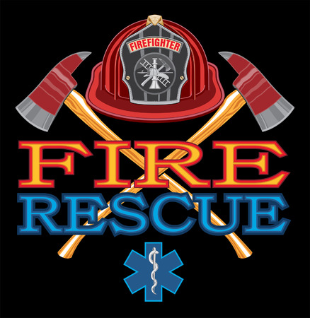 Fire Rescue Design is an illustration of vibrant text that says Fire and Rescue and includes a firefighter's Maltese cross, rescue Star of Life symbol and crossed fireman's axes. Great for use in fire, rescue, emergency and medical response themed designs. Ilustracja