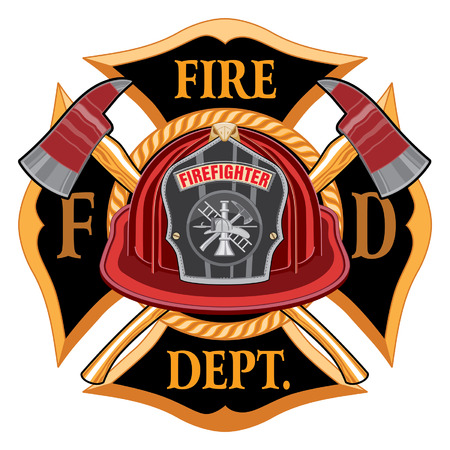 Fire Department Cross Vintage Emblem Concept Illustration. Illustration