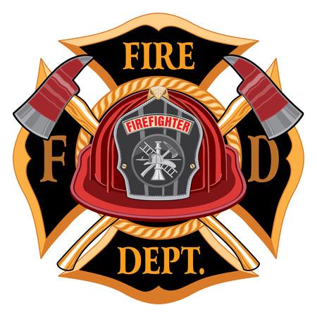 Fire Department Cross Vintage Emblem Concept Illustration. Vettoriali