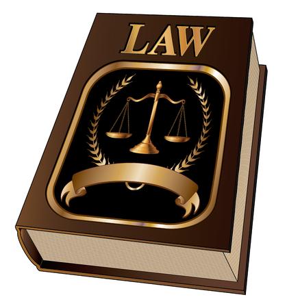 Law Book With Seal is een illustratie van een wetboek gebruikt door advocaten en rechters met een schaal van rechtvaardigheidszegel en lege banner voor uw tekst. Vertegenwoordigt juridische zaken en gerechtelijke procedures.