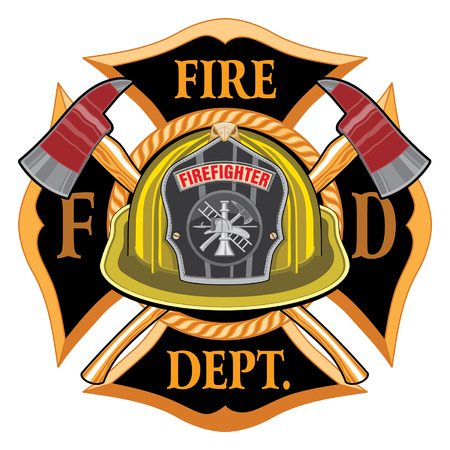 Fire Department Cross Vintage with Yellow Helmet and Axes is an illustration of a vintage fireman or firefighter Maltese cross emblem with a yellow volunteer firefighter helmet with badge and crossed axes. Great for t-shirts, flyers, and websites.
