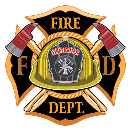 Fire Department Cross Vintage con casco y hachas amarillas es una ilustración de un emblema de la cruz maltesa de bombero o bombero vintage con un casco de bombero voluntario amarillo con insignia y hachas cruzadas. Ideal para camisetas, folletos y sitios web. Ilustración de vector