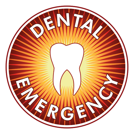 Dental Emergency Design is an illustration of a tooth with vibrant radiating colors representing pain and the need for urgent care.
