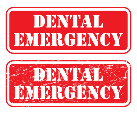 Dental Emergency Stamp is an illustration of two version of a stamp, sign or banner that states that there is a dental emergency.