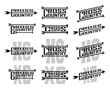 クロスカントリーデザインは、学校、クラブ、レースでクロスカントリーランナーのための12のデザインのイラストです。Tシャツ、チラシ、学校の  イラスト・ベクター素材