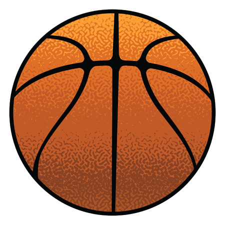 Basketball Textured is an illustration of a stylized flat or spot color basketball. Uses five colors that are each its own object for easier editing.