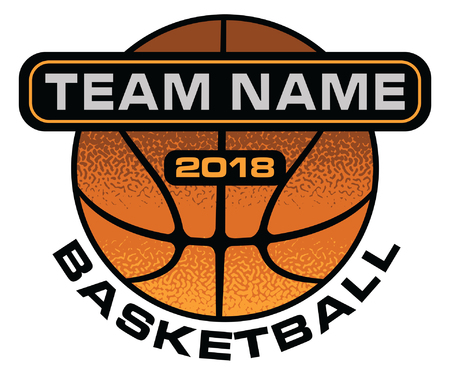 Basketball textured design is an illustration of a stylized flat or spot color basketball design with space for your team name and year. Uses five colors that are each it's own object for easier editing. Иллюстрация