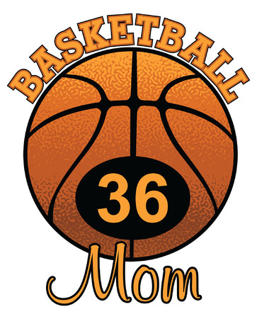 Basketball Mom With Number is an illustration of a stylized flat or spot color basketball Mom design with space for your child's number. Uses five colors that are each it's own object for easier editing. Illusztráció