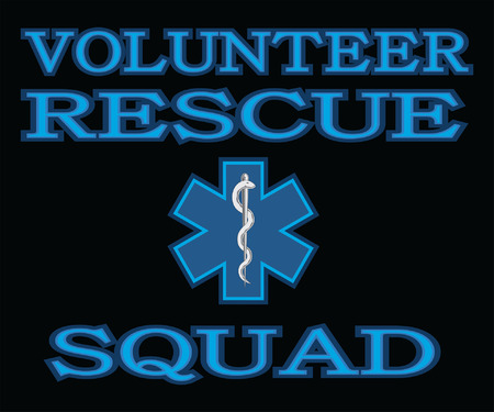 Volunteer Rescue Squad is an illustration that can be used to represent rescue volunteer squad crews or members. Just add your name or location. Great for logos, ads, flyers, t-shirts or anything else that you use for promotion or to show your pride. Ilustracja