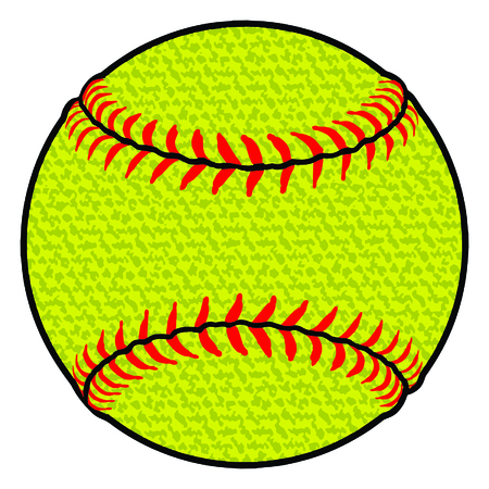 Softball - Textured is an illustration of a stylized flat color or spot color softball. Uses four colors that are each it's own object for easier editing.