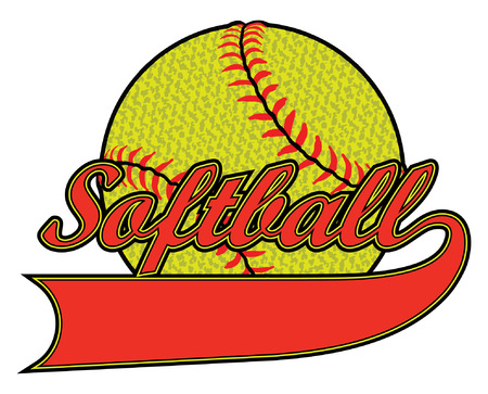 Softball - Textured is an illustration of a stylized flat color or spot color softball. Uses four colors that are each its own object for easier editing.