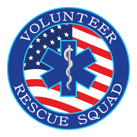 Volunteer Rescue Squad Design With Flag is an illustration that can be used to represent rescue volunteer squad crews or members. Just add your name or location. Great for logos, ads, flyers, t-shirts or anything else that you use for promotion or to show your pride.