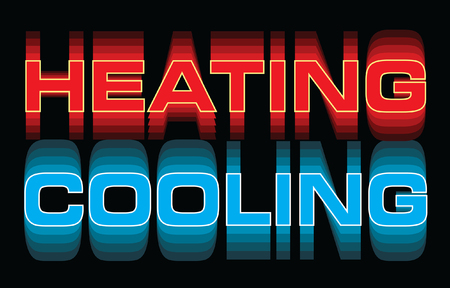 Heating Cooling is an illustration is an illustration that can be used for heating and air or HVAC companies. Great for logos, ads, flyers, t-shirts or anything else that you use to promote your business. Stock Illustratie