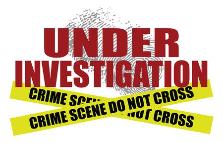 Under Investigation With Police Tape est une illustration du texte disant sous enquête avec une empreinte digitale en arrière-plan. En bas, deux scènes de crime ne traversent pas les bandes de ruban adhésif de la police.