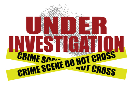 Under Investigation With Police Tape is an illustration of text saying under investigation with a fingerprint in the background. At the bottom is two crime scene do not cross police tape strips. 矢量图像