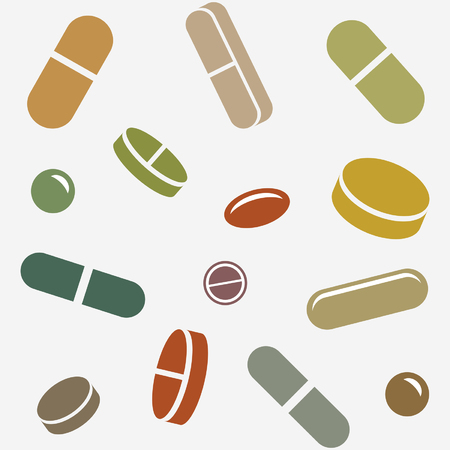 Pills or Supplements Random in Seamless Pattern is an illustration of different type of pills or supplements laid out randomly and set up to be able to be used as a seamless repeatable pattern that can be used as a background.