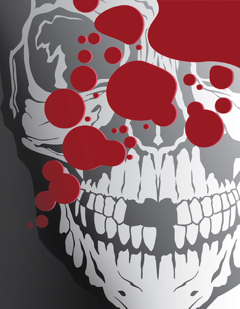 Blood Splatter With Skull is an illustration of a design that includes a human skull, blood splatter and stylized text. Great for Halloween flyers, invitations, posters, etc. Ilustração