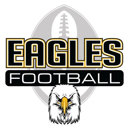 Eagles Football Design With Eagle Head is a team design template that includes a football, an eagles mascot head and text that says eagles football. Great for advertising and promotion. Illustration