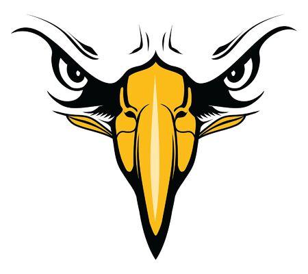 Le visage d'aigle avec les yeux et le bec est une illustration d'un aigle. Il s'agit d'un gros plan du visage et serait idéal pour les mascottes de l'école dans des conceptions de t-shirts ou d'autres articles promotionnels.