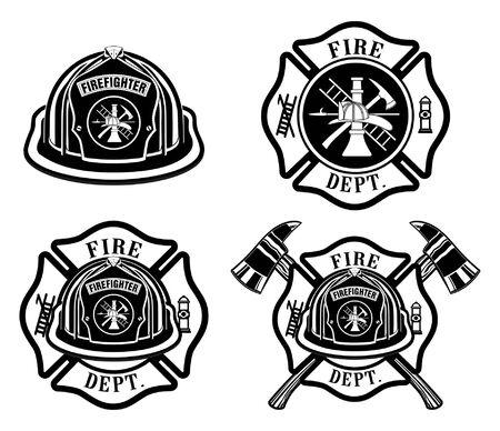 Fire Department Cross and Helmet Designs ist eine Illustration des Malteserkreuz-Designs von vier Feuerwehrleuten oder Feuerwehrleuten, das Feuerwehrhelm mit Abzeichen und gekreuzten Achsen des Feuerwehrmanns enthält. Ideal für T-Shirts, Flyer und Websites.