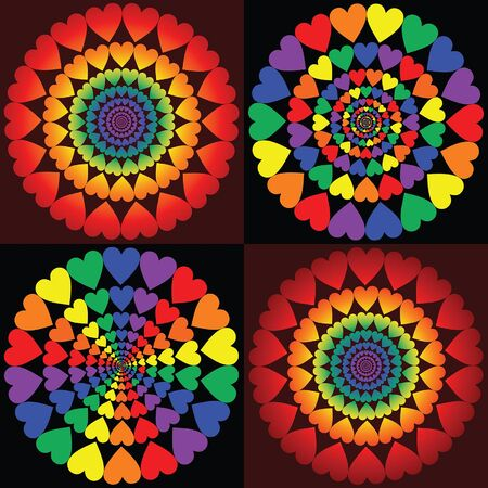 Hearts Love Rainbows is an illustration of heart shapes in circular patterns in several different rainbow colored versions. Represents love and diversity. Great for Valentines Day designs. Ilustração