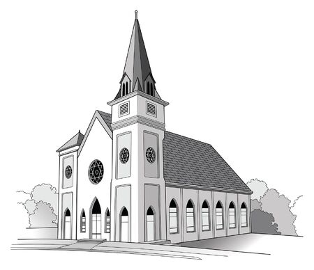 Church Line Drawing is a detailed illustration of a church.It has the shape of a traditional church but is an imaginary building.