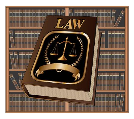 Law Book Seal and Library is an illustration of a law book used by lawyers and judges with a scale of justice seal and blank banner for your text with a background of books on shelves as in a library.