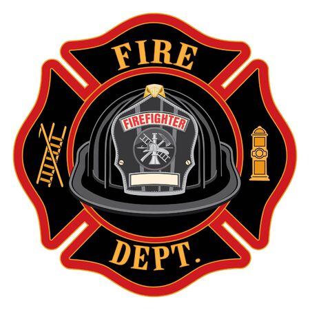 El casco rojo de la Cruz del Departamento de Bomberos es una ilustración de un bombero o un emblema de la cruz de Malta con un casco de bombero rojo y una insignia que contiene un espacio vacío para el texto en primer plano. Ideal para camisetas, folletos y sitios web. Ilustración de vector