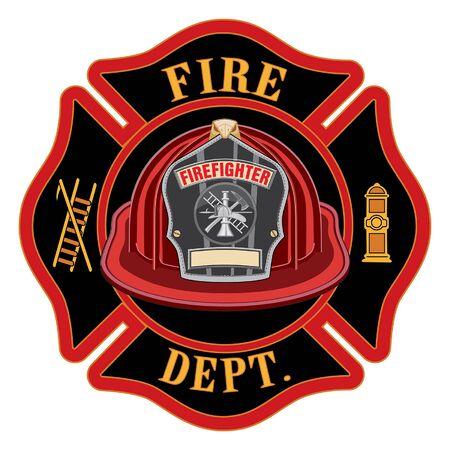 Il casco rosso della croce dei vigili del fuoco è un'illustrazione di un emblema della croce maltese di un vigile del fuoco o vigile del fuoco con un elmetto da pompiere rosso e un distintivo contenente uno spazio vuoto per il testo in primo piano. Ottimo per t-shirt, volantini e siti web.