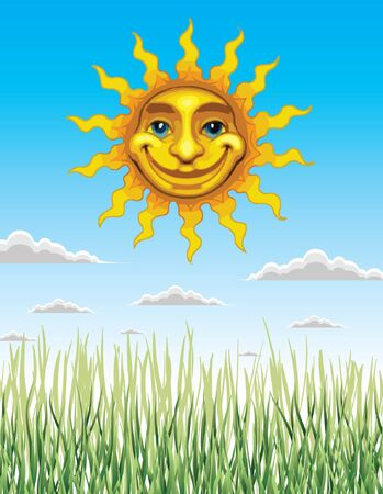 Spring and Summer Sun is an illustration celebrating spring and summer with green grass, a beautiful blue sky with fluffy clouds and a bright yellow shining smiling sun.